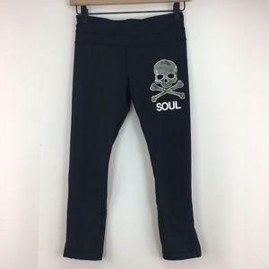 Lululemon Black Soul Cycle Skull Crop Leggings 4